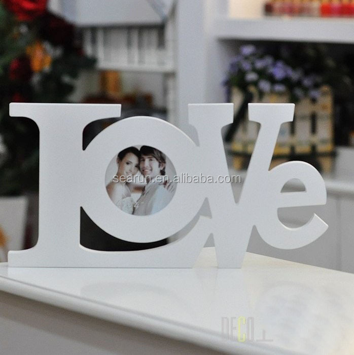 wooden letters photo frame love shape picture frame