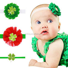 St. Patricks Day Elastic Headbands Chiffon Flowers Rhinestone Clover Hairbands Baby Children High Quality Hair Accessories