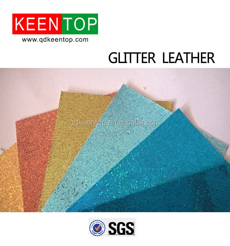 2015 new style color glitter leather and wrapping glitter leather