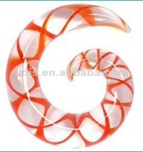 Double Helix DNA Red Glass Ear Spiral ear piercing taper