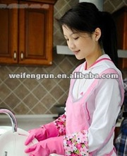 pink flock lined latex cleaning household gloves