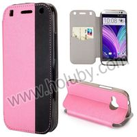 Cross Texture Card Slot Design Flip Stand PU Leather Case for HTC One Mini 2 M8 Mini Cover