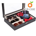 Leather Box 8 Slots For Eyeglass Sunglass Glasses Display Case Storage Organizer Collector