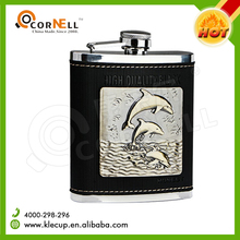 Whole logo stick on the leather of Fancy Stainless Steel hip flask