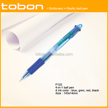office and stationery 4 colors retractable plastic ballpoint ball pen