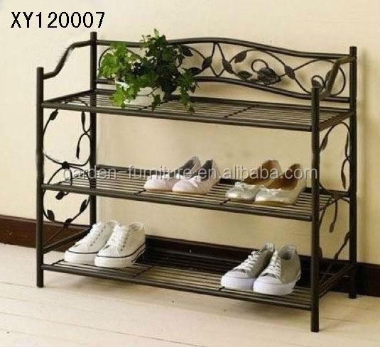 XY120007 3 tier shoes shelf floor-standing metal organizer space saver shoe rack stand black