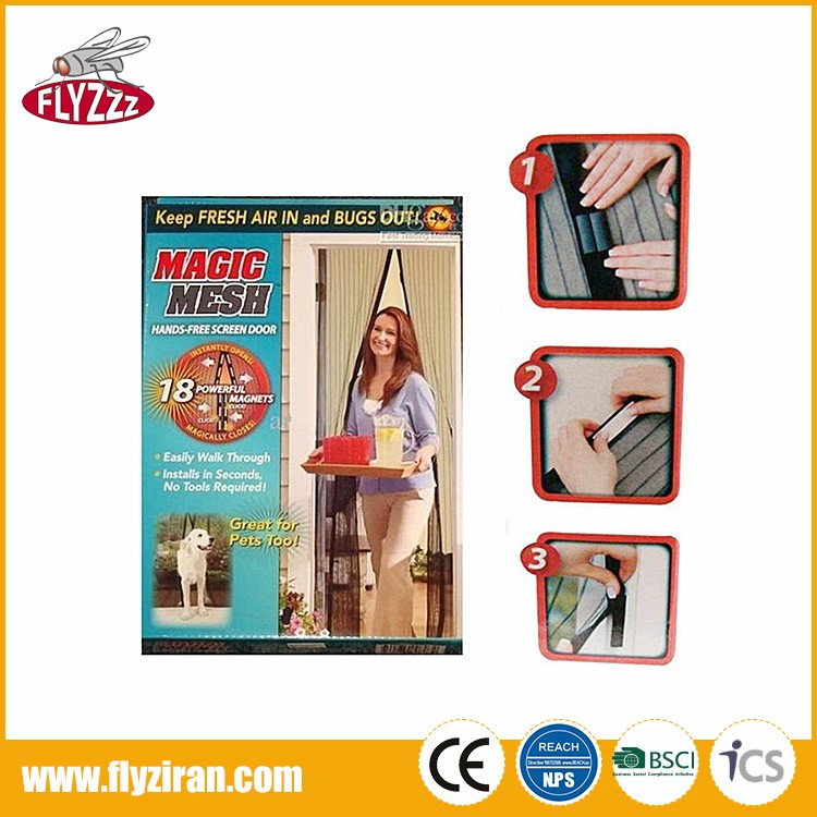 Polyester durable double open anti fly mosquito net magnetic magic mesh screen door