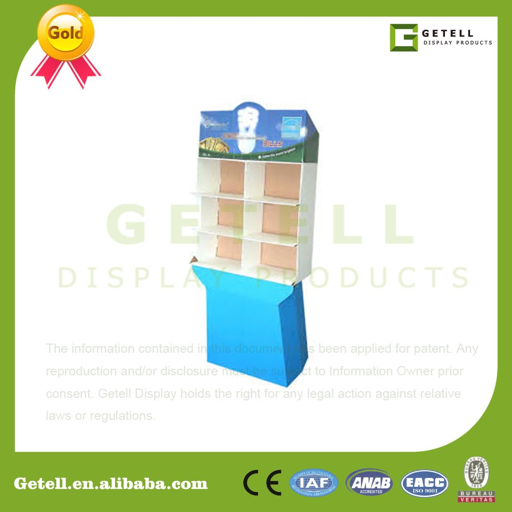 high quality small moq hardboard display stand with shelf division
