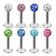 epoxy CZ stone ball labret studs diamond lip stud piercing AMLR031