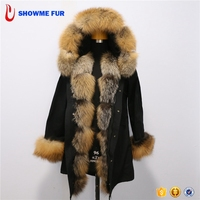 Pure Black Fabric Natural Color Real Raccoon Fur Parka Coat