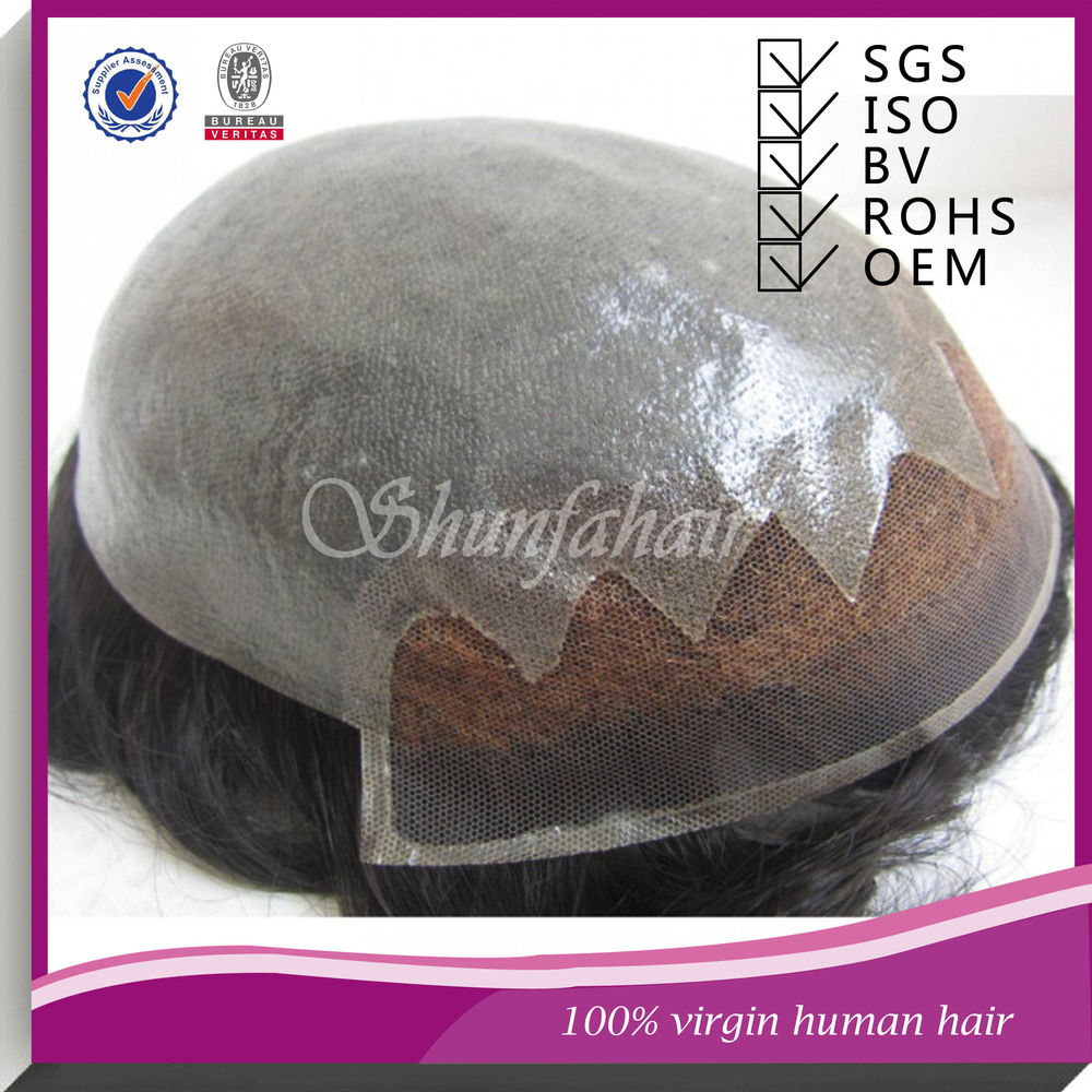 high quality virgin human hair with gray hair Stock BIO men's toupee