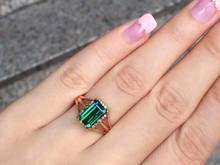 2015 fashion 18k gold emerald cut diamond verdelite ring