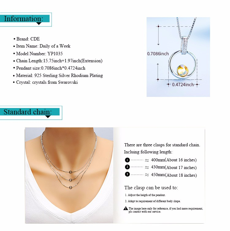 CDE China crystals from Swarovski factory custom 2017 fashion brass silver gold different type of pendant chain jewelry necklace