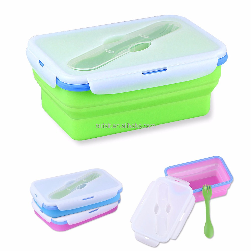 eco FDA LFGB standard High Quality and oven safe square silicone Folding Food Storage Containers