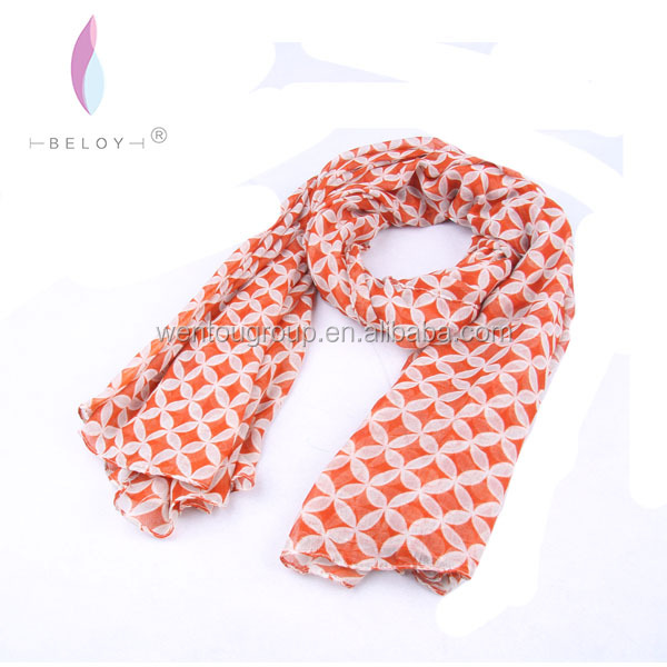 Professional Customized Voile Coins Printed Scarves Factory