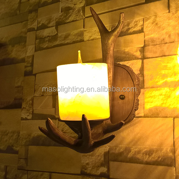Fancy creative vintage resin wall lamp with E14/E17 lampholder for coffee shop resturant hotel home decoration wooden wall lamp