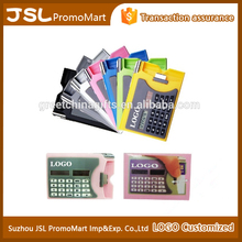 Promotional Tradshow Gift Multi-functional Plastic Name Card Box with Ball Pen Pocket Solar Calculator with Customized Logo