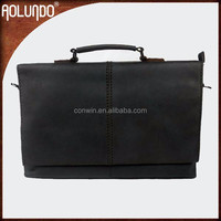 Top quality wholesale black business man genuine leather briefcase