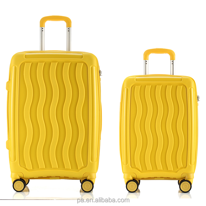 luggage set 2 pieces PP personalized trolley luggage set portable trolley suitcase
