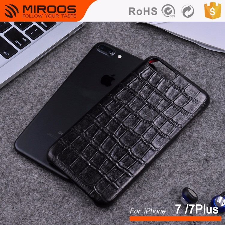 Genuine Leather Crocodile Pattern Protective Phone Case for iPhone 7 Plus
