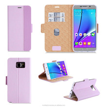 High Quality Taiga Pattern PU Leather for Girl Smart Case Cover with Card Slots for Samsung Note 5