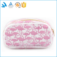 Round Shape Popular Quality PVC Cosmetic Bag with Pink Color