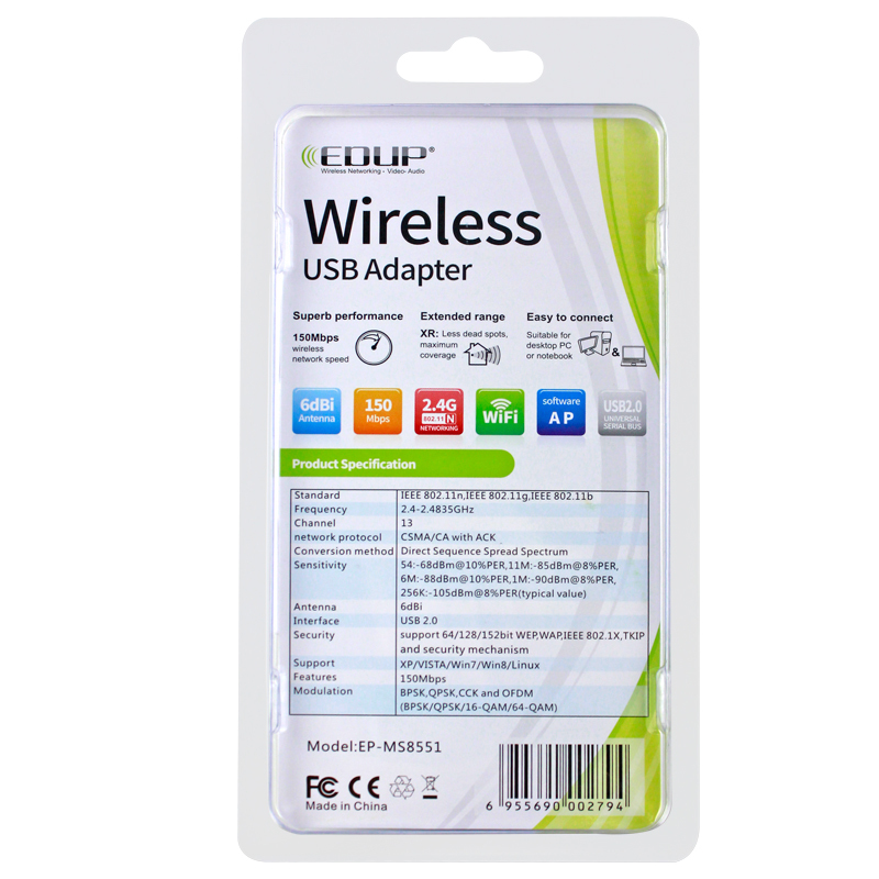 EDUP EP-MS8551 150Mbps Mini wireless wifi adapter with antenna