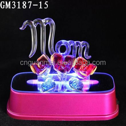 Gold supplier LED glass Mother's Day gifts with Mom and roses