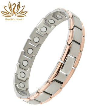 Magnetic Bracelet Therapy Pure Titanium 3000 Gauss Magnets for Arthritis Pain Relief Silver&Copper Custom Jewelry