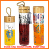 Wholesale hot sale custom reusable glass drinking decal water bottle with bamboo top