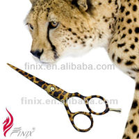 Japanese Stainless Steel Blade Zinc Alloy Grip Cheetah Texture Tattoos of Hair Scissors