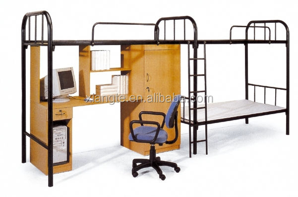 Conjoint twin school/military apartment/dorm loft wooden metal bunk bed with study table/wardrobe/locker