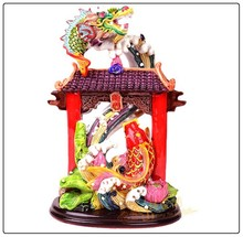 Carp Fish Jumping Over the Dragon Gate, resin dragon statue