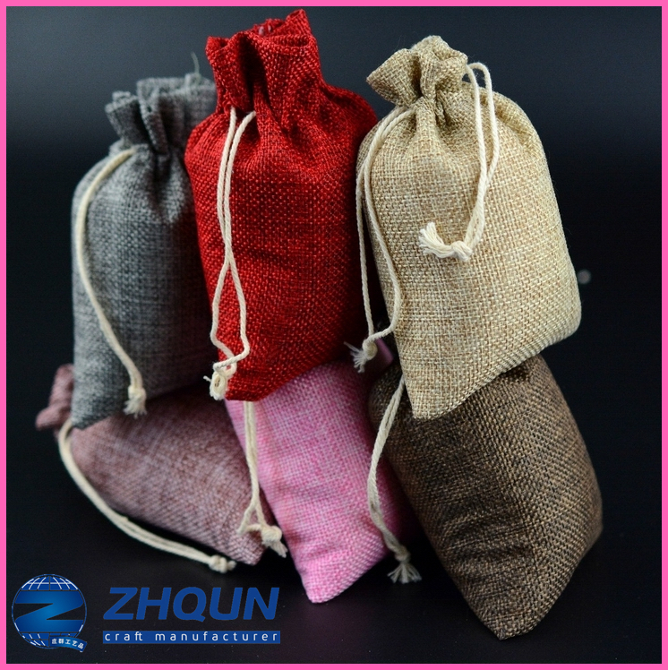 Fast delivery multicolor linen drawstring jewelry gift bag pouch