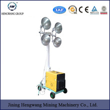 Cheapest Price !!! HENGWANG Mobile Lighting Tower 4.8M with Metal Halide Lamp 4x400W Night Scan Light Tower Generator 5KW