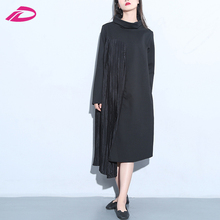 2017 Autumn New Fashion Loose Lady Solid Color Long Sleeve Cotton Dress