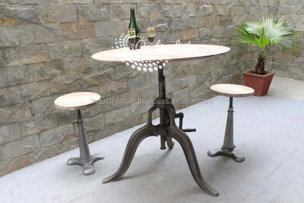 One Leg Stool With Three Leg Dining Table