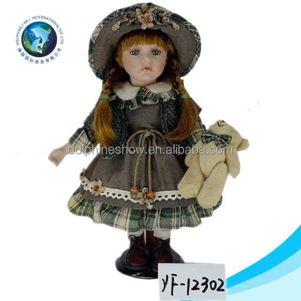 American russian doll with beautiful dress and hat plush teddy bear porcelain doll body