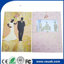 Customized design lcd digital video player wedding invitation greeting card
