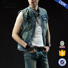 2015 OEM Fashion Slim Fit Wash Boys Denim Vests Wholesale