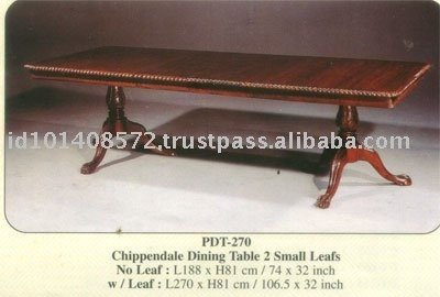 Chippendale Dining Table 2 Small Leafs Mahogany Indoor Furniture.