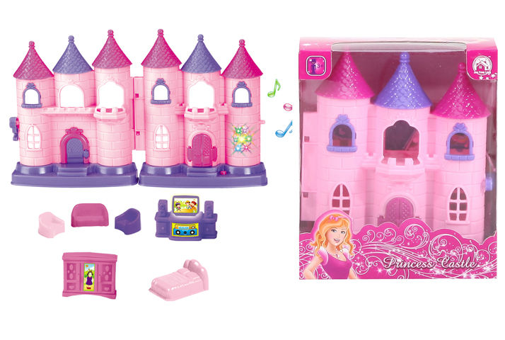 lovely doll castle music light ABS mini plastic toy baby house with 7P