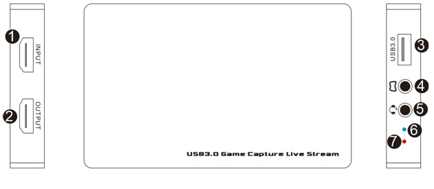 Game pro HDMI to USB 3.0 UVC game Capture Card with Live streaming for Gaming pro with MIC in gamepad audio input ezcap269