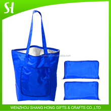 420D polyester material and aluminum film wholesale insulated cooler bags/blue folding tote bags with pouch