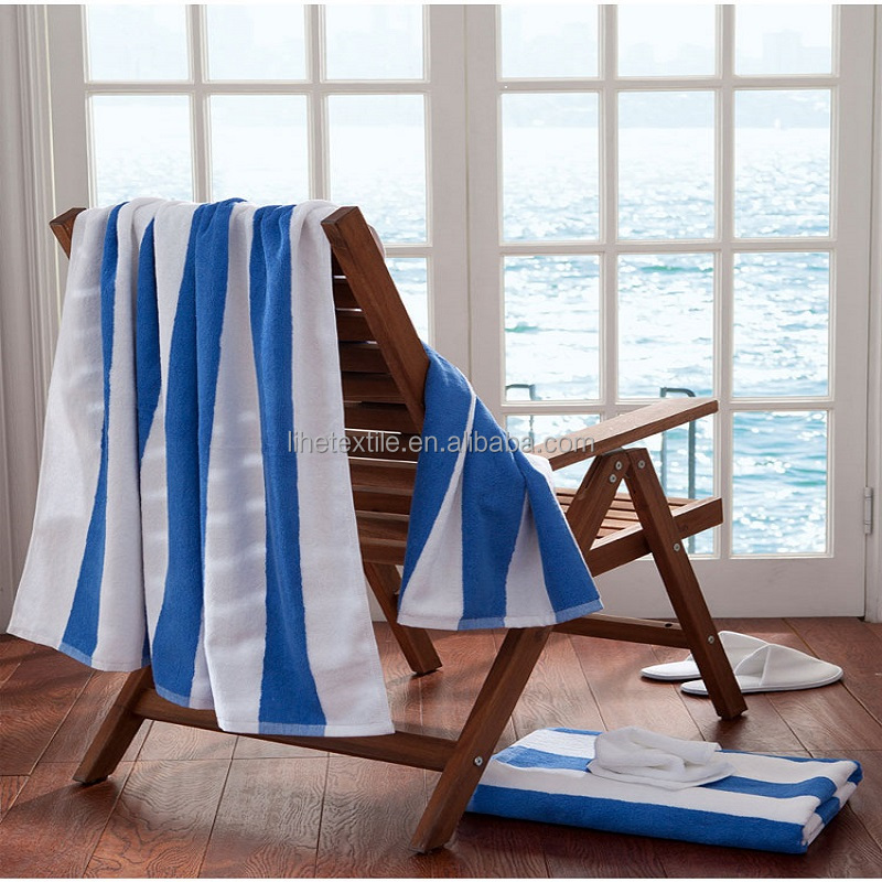 Customized blue and white striped cotton beach towel