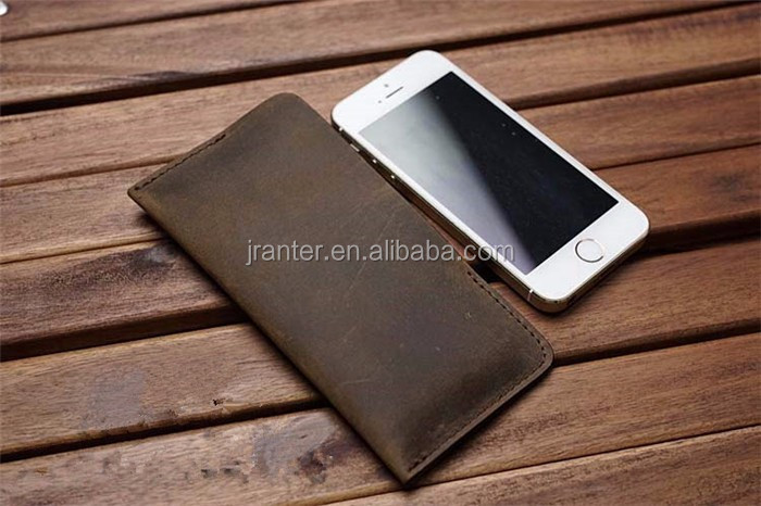 Custom Logo Soft Cell Phone Pouch for Iphone 5 Case Leather Handmade Mobile Pouch