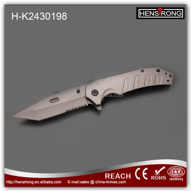Heavy duty titanium partial serrated blade knives best survival pocket knife