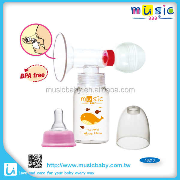 Manual silicone Breast pump with feeding bottle