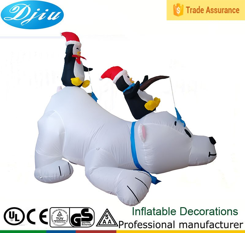DJ-SD-002 Giant Inflatable white bear christmas penguin with led light
