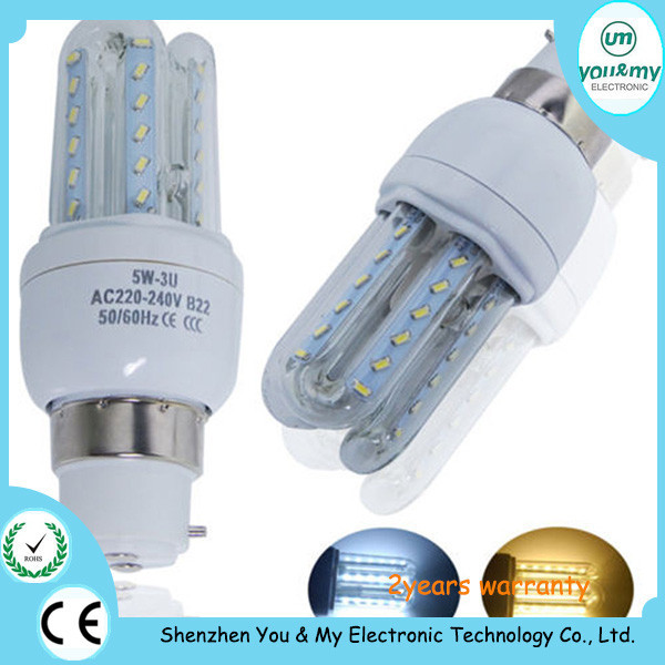 5w U shape led bulb E27/B22/E14 LED Corn led Light AC85-265V U type led lamp warm white / day light